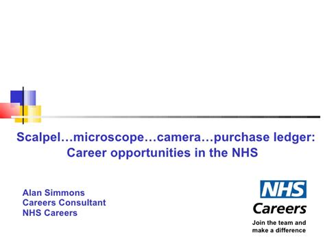 nhs careers powerpoint presentation