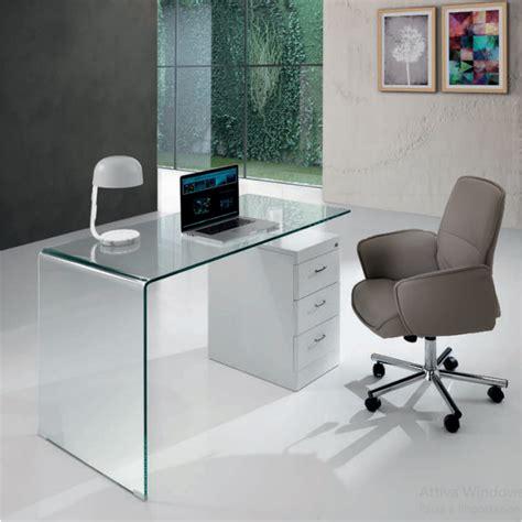 cassetti ufficio scrivania moderna in vetro curvato e legno 3 cassetti cm