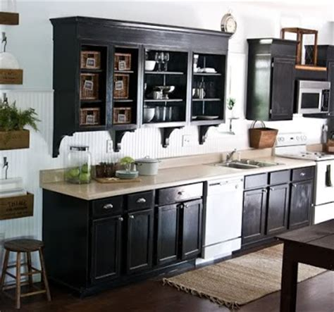 black cabinets with white appliances home garden
