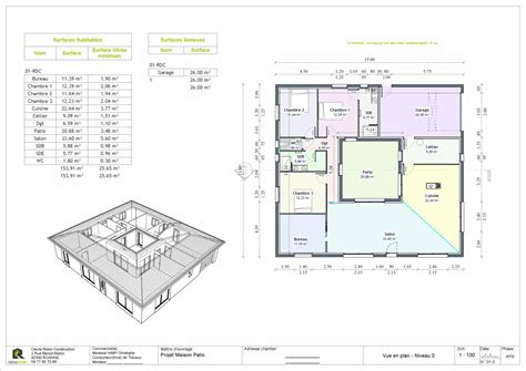 plan maison patio central plan vrd maison individuelle ventana