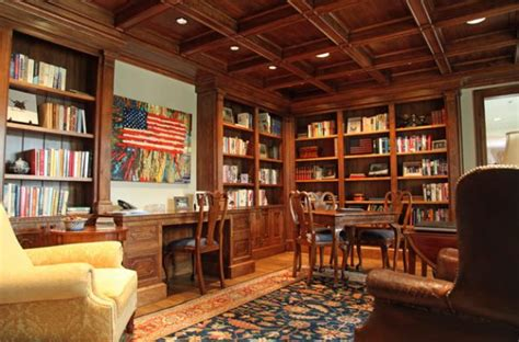 Interior Home Office Library Ideas Home Office Library | home office library with patriotic zest decoist