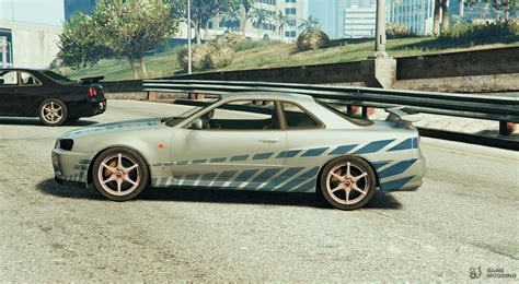 nissan r34 paul walker nissan skyline r34 paul walker 2fast 2furious for gta 5