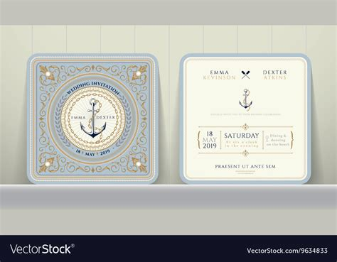 Classic Vintage Style Anchor vintage nautical anchors and chain wedding card vector by