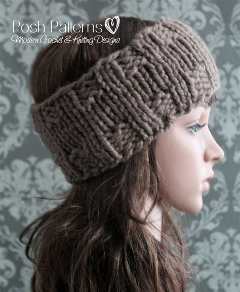 knitting pattern for headbands with flower headband knitting pattern knit ear warmer pattern