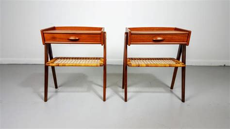 pair of danish modern teak nightstands in the style of brilliant danish modern teak nightstands in the style of