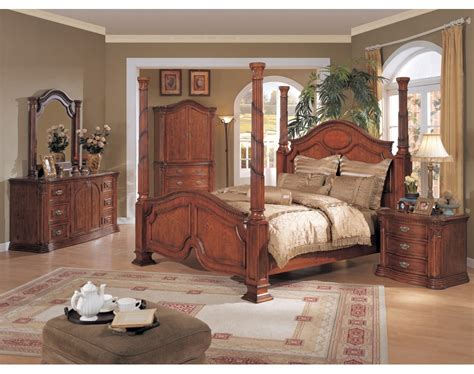 post bedroom sets tuscany poster bedroom set walnut finish