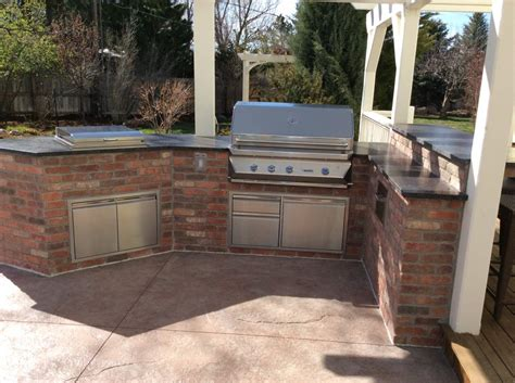 brick outdoor kitchen brick outdoor kitchen island in superior co hi tech appliance