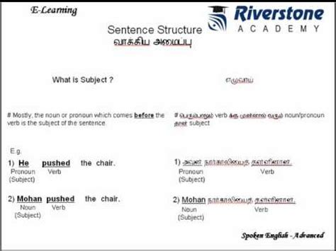 sentence pattern through tamil learn english through tamil sentence structure youtube