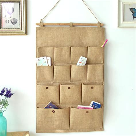 practical jute letters bedroom home wall hanging storage bag organiser 5 pockets ebay popular wire wall letters buy cheap wire wall letters lots