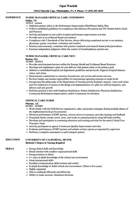 Critical Care Resume by Critical Care Resume Sles Velvet