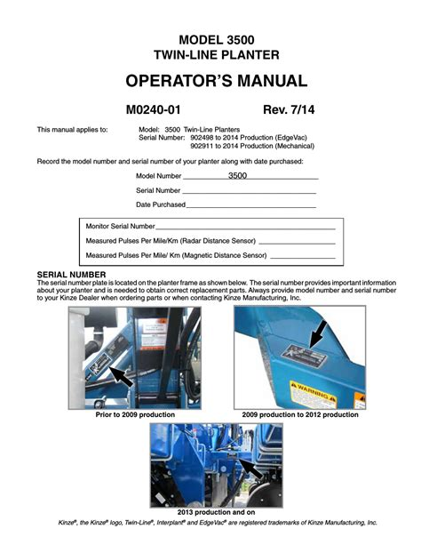 Kinze Planter Serial Numbers by Kinze 3500 Lift And Rotate Planter Rev 7 14 User Manual