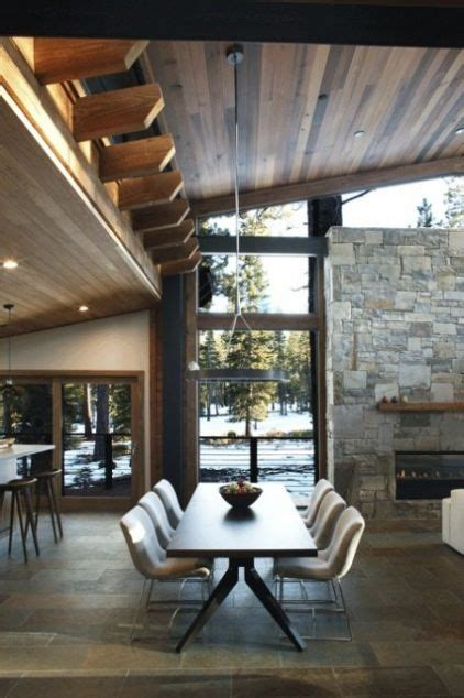 Tongue And Groove Fireplace by False Beams Modern Dining Area Gas Fireplace Cedar