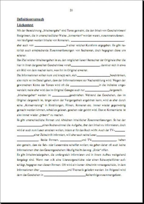 Charakteristik Schreiben Muster Unterrichtsreihe Inhaltsangabe