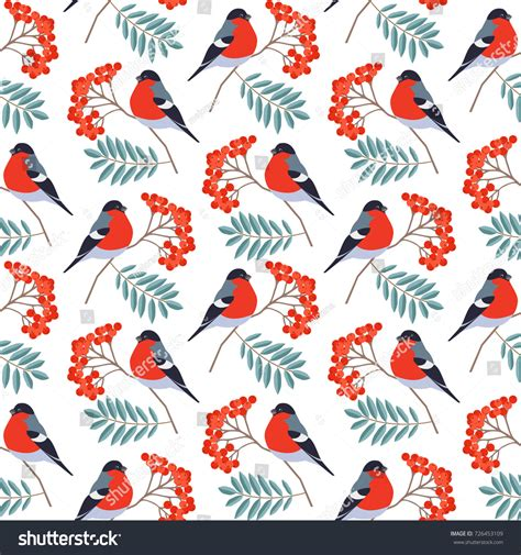seasonal pattern en francais seamless pattern bullfinch on rowan branch stock vector