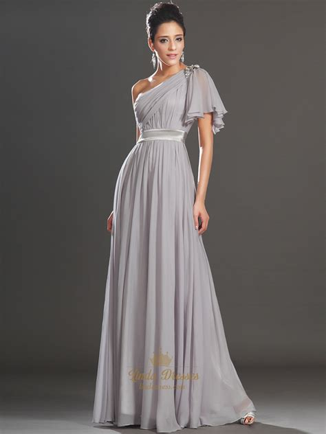 light grey formal dress light grey one shoulder a line chiffon prom dress with