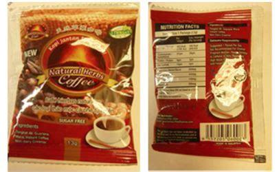 Kopi Jantan Plus Asli Kopi Herbal Kopi Luwak Kopi Stamina Cleng bestherbs coffee recalled because it contains like food safety news