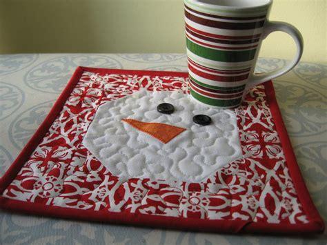 pattern quilted mug rug snowman mug rug by rachel21 craftsy