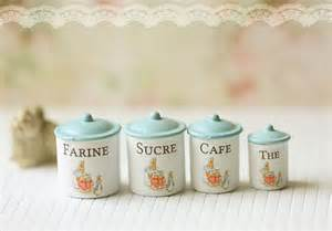 Canisters in shabby blue designed by me in 1 12 miniature scale