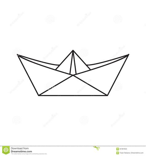 icon paper boat in the outline style stock vector - Paper Boat Outline