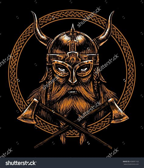 design a viking helmet ancient viking head in a ring with scandinavian ornament