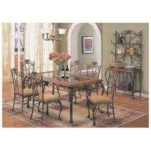 Rod Iron Dining Room Set by 7pc Metal Dining Table Amp Chairs Set Brown Wrought Iron