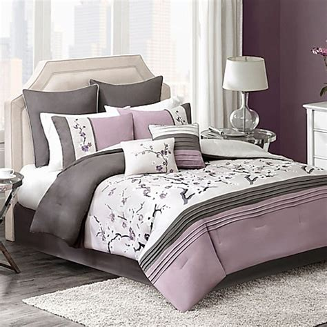 blossom 8 piece comforter set in plum bed bath beyond