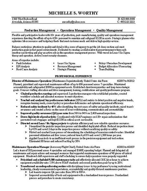 Resume Template Quality Manager Quality Manager Resume Exle Products Resume And Target