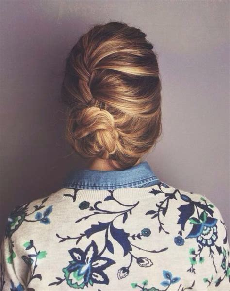 hairbuns on pinterest french braid buns updo and updos loose french braid bun when my hair needs fixin