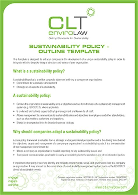 sustainability policy template a pilot study of the sport sector s views clt envirolaw