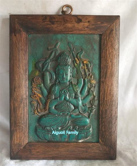 art collection chinese  green stone carved guanyin wall
