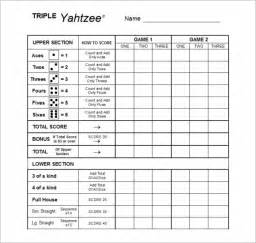 sample yahtzee score sheet template 5 free documents