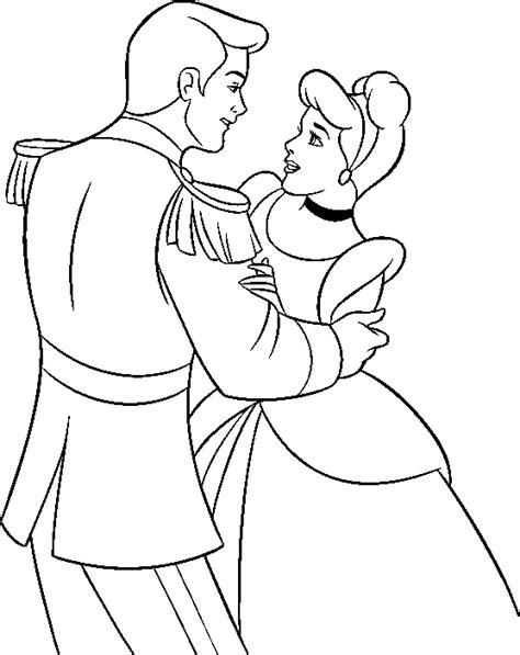 Coloring Pages Princess Cinderella And Prince Dancing Prince Coloring Pages