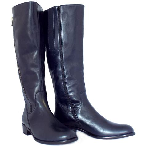 womens navy blue boots gabor dawson s modern knee high navy leather boots