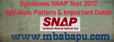 Symbiosis Entrance Test Syllabus For Mba by Symbiosis Snap Test 2017 Eligibility Pattern Important