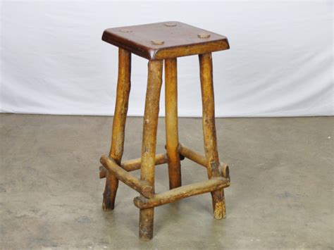 four vintage rustic wood bar stools mecox gardens