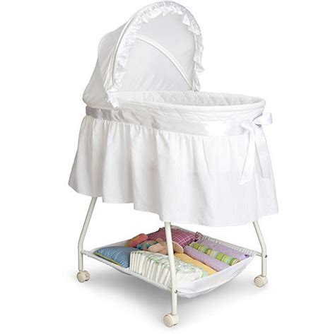 white baby bassinet baby infant cradle newborn crib wheels