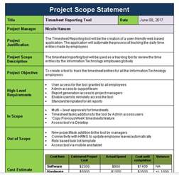 scope statement template project scope statement template free free