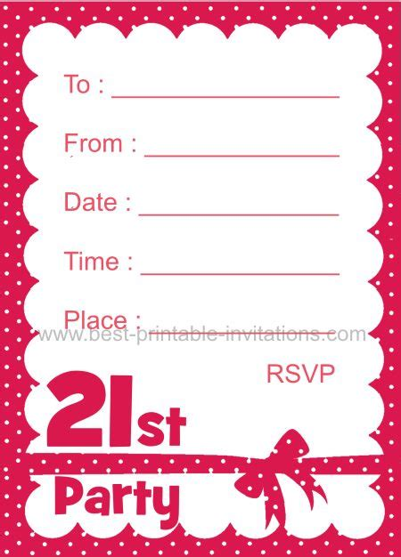 21st birthday card template free printable 21st birthday invitation