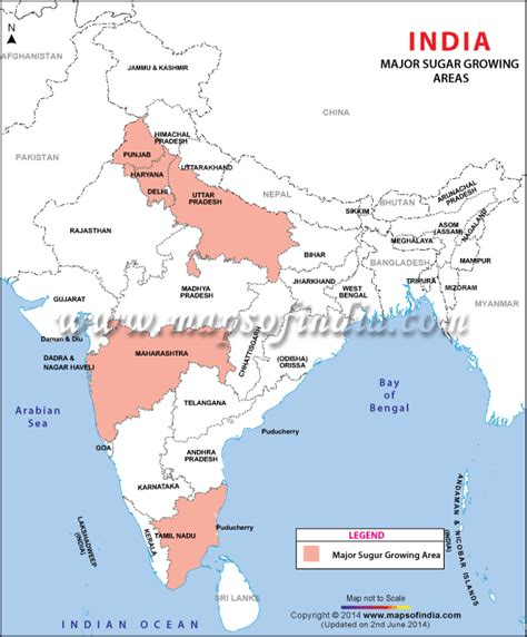 Sugar Growing Map, Sugar Growing areas in India
