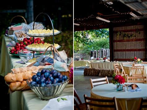 casual outdoor wedding reception with buffet style dining