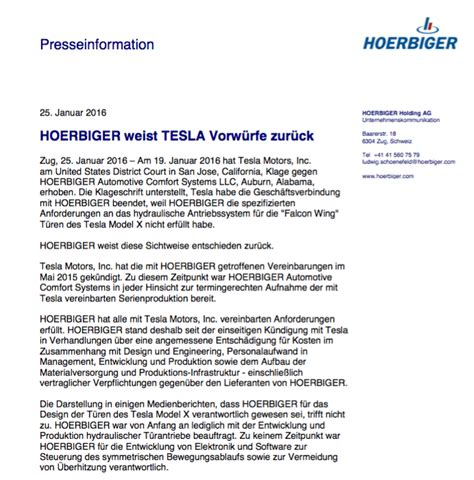 hoerbiger automotive comfort systems llc tesla motors verklagt schweizerischen zulieferer wegen