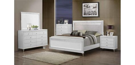 bedroom furniture white catalina metallic white bedroom set 5pc global furniture