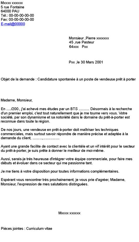 Vendeuse Magasin Lettre De Motivation candidature spontan 233 e vendeuse pret a porter lettre de