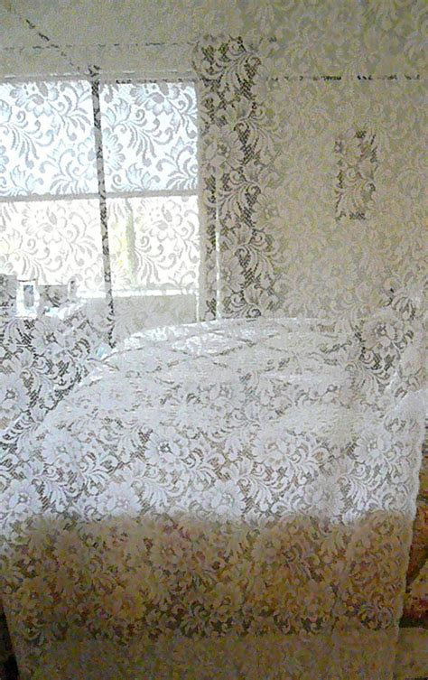 Vintage Lace Curtains Reserved Vintage Lace Curtains Shabby Cottage Chic Two Panels
