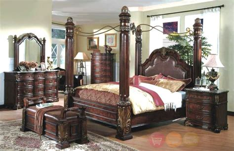 King Poster Bedroom Set | king poster canopy bed marble top 5 piece bedroom set