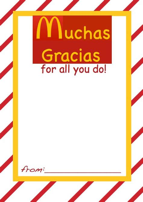 printable mcdonalds gift certificates gift card holder mcdonalds for spanish teacher aides