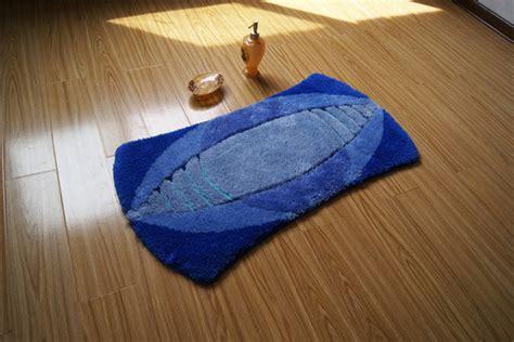 unique shape rugby design  slip blue bathroom mat floor