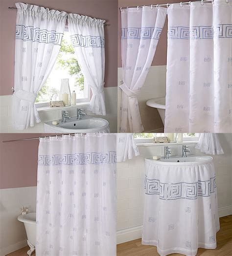 voile bathroom curtains greek key embroidered voile bathroom shower or window