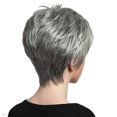 salt and pepper wigs for mature women salt and pepper short straight capless wigs with bangs