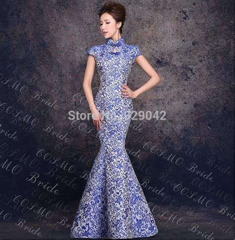 Blue Flower Retro Cheongsam Dress Vintage Import Fashion Wanita Korea new style cheongsam qipao dresses vintage blue